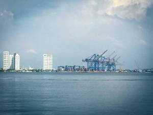 Ship cranes in Cartagena Bay, Cartagena, Colombia, Fantasy Aisle Travel