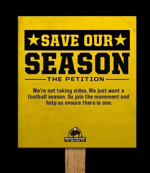 Buffalo Wild Wings Save Our Season Sign