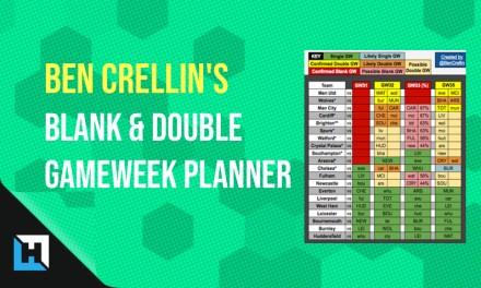 Ben Crellin's FPL Blank & Double Gameweek Transfer Planning Sheet