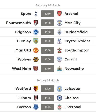 GW 29 Fixtures