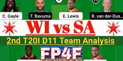 WI vs SA 2nd T20I Match Dream11 Team Analysis