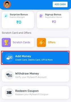 Myteam11 Add Money