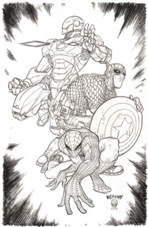 Iron Man, Captain America and Spider-Man