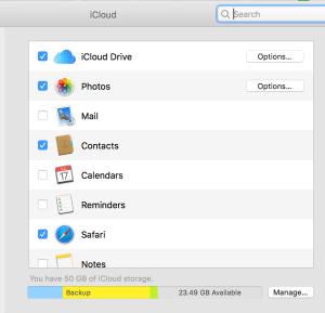 screenshot of icloud settings