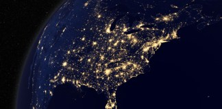 north america at night from space