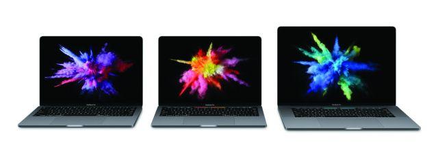 lineup of three Macbook Pro laptops