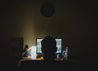 Person in front of computer