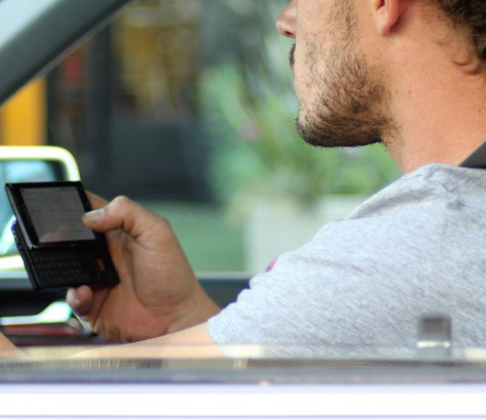 Person on phone while driving