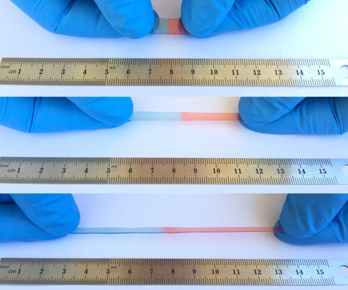 Self healing polymer being stretched