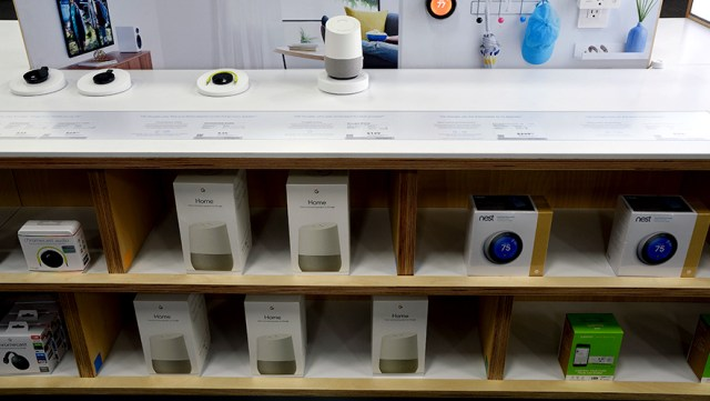 Google Home on display in a Best Buy store