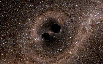 Photo of black holes collide