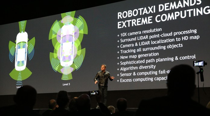 NVIDIA founder and CEO Jensen Huang in Europe discussing DRIVE PX Pegasus and its role in robotaxi