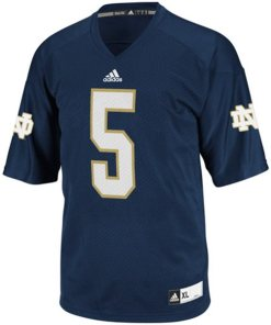 Adidas NCAA Notre Dame Fighting Irish Navy #5 Football Premier Team Color Jersey Front