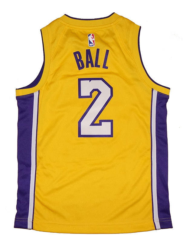 quality design 054f7 a6837 Youth Nike Los Angeles Lakers #2 Lonzo Ball Gold Swingman ...