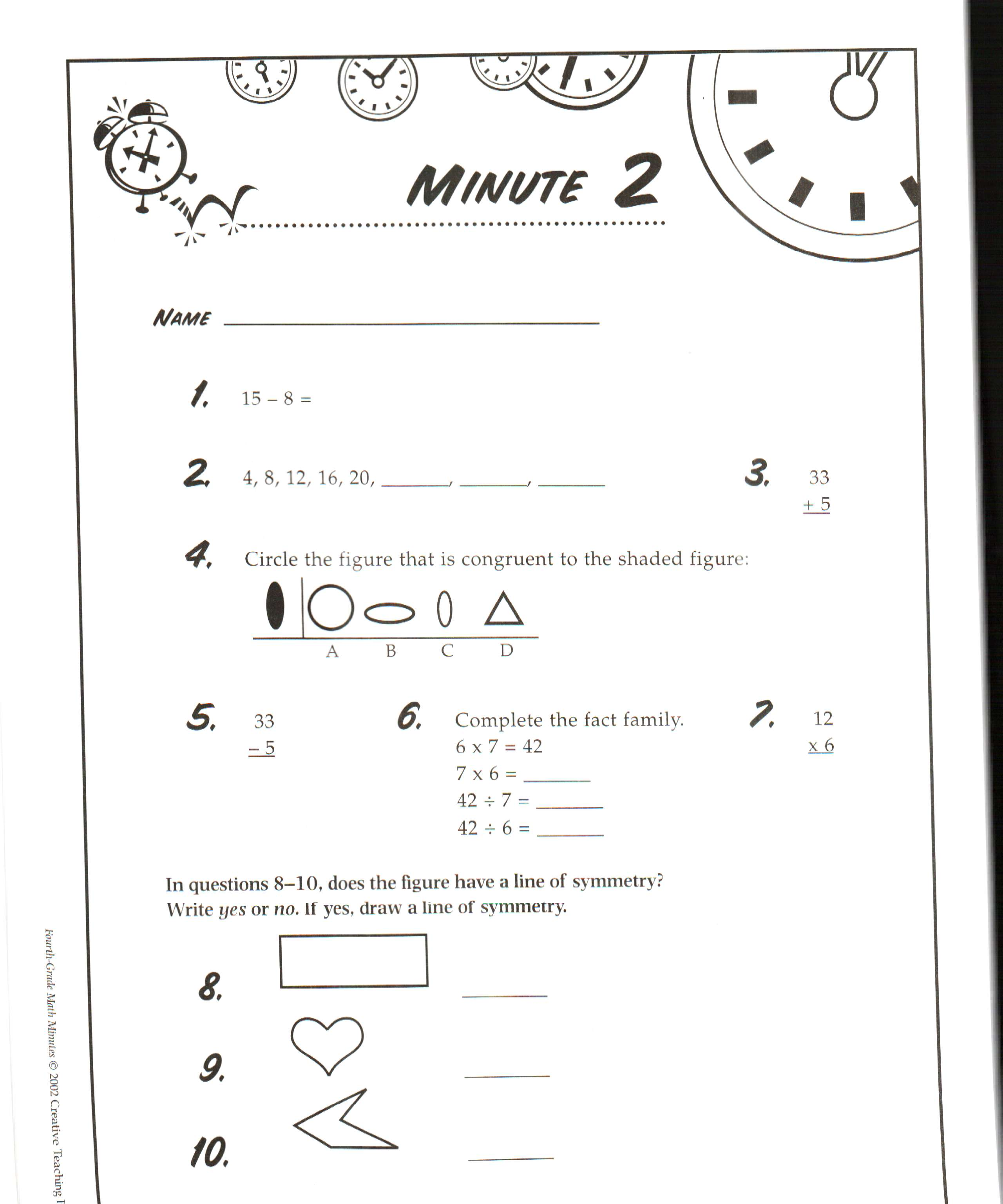 Mad Minute Multiplication Worksheets 3rd Grade