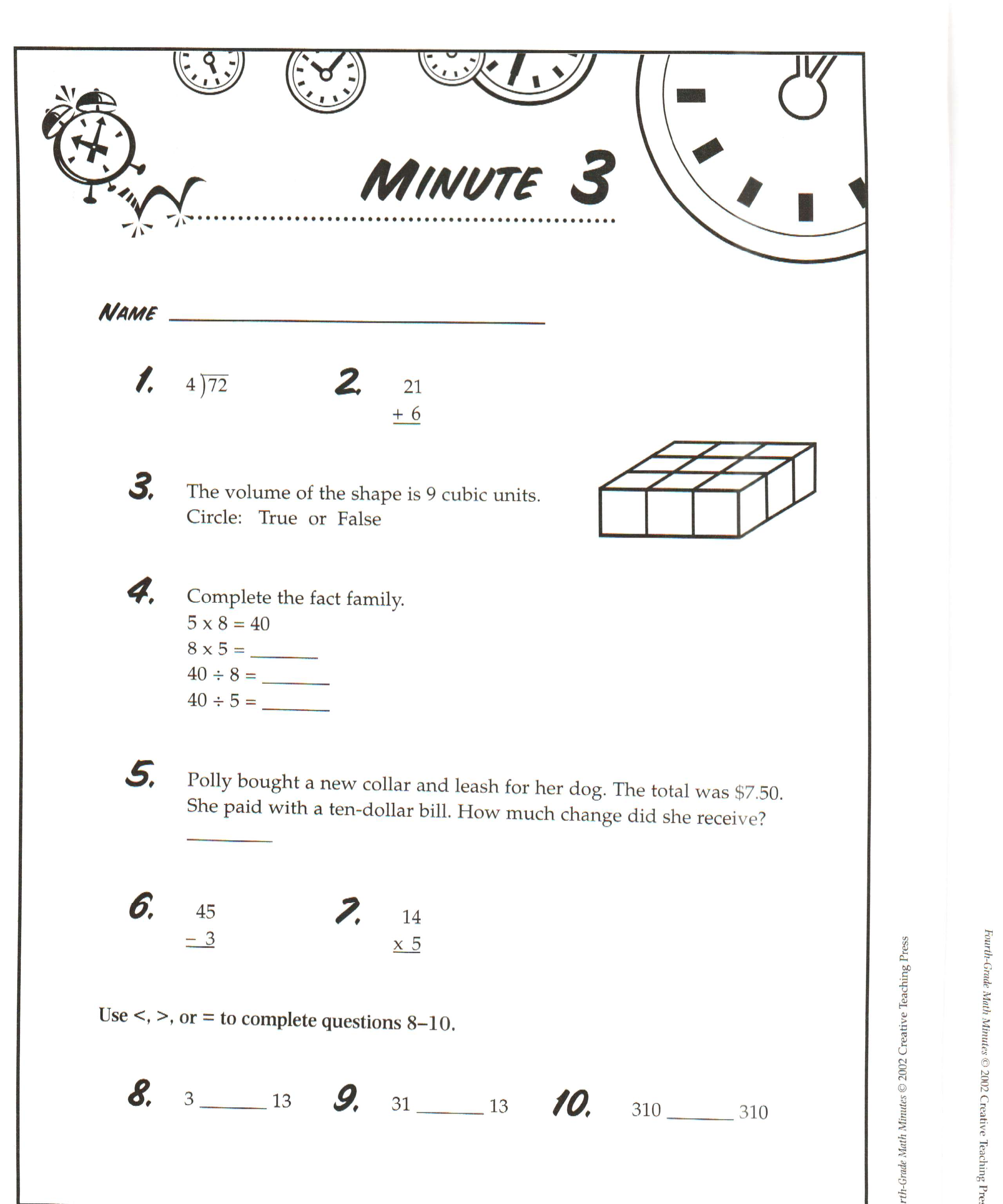 3rd Grade Math Inventory Images