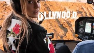 Alissa Violet Takes A Helicopter Ride To The Top of the Ski Mountain