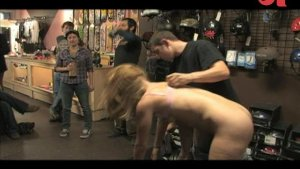 Sexy Ami Emerson humiliated and fucked in a public shop