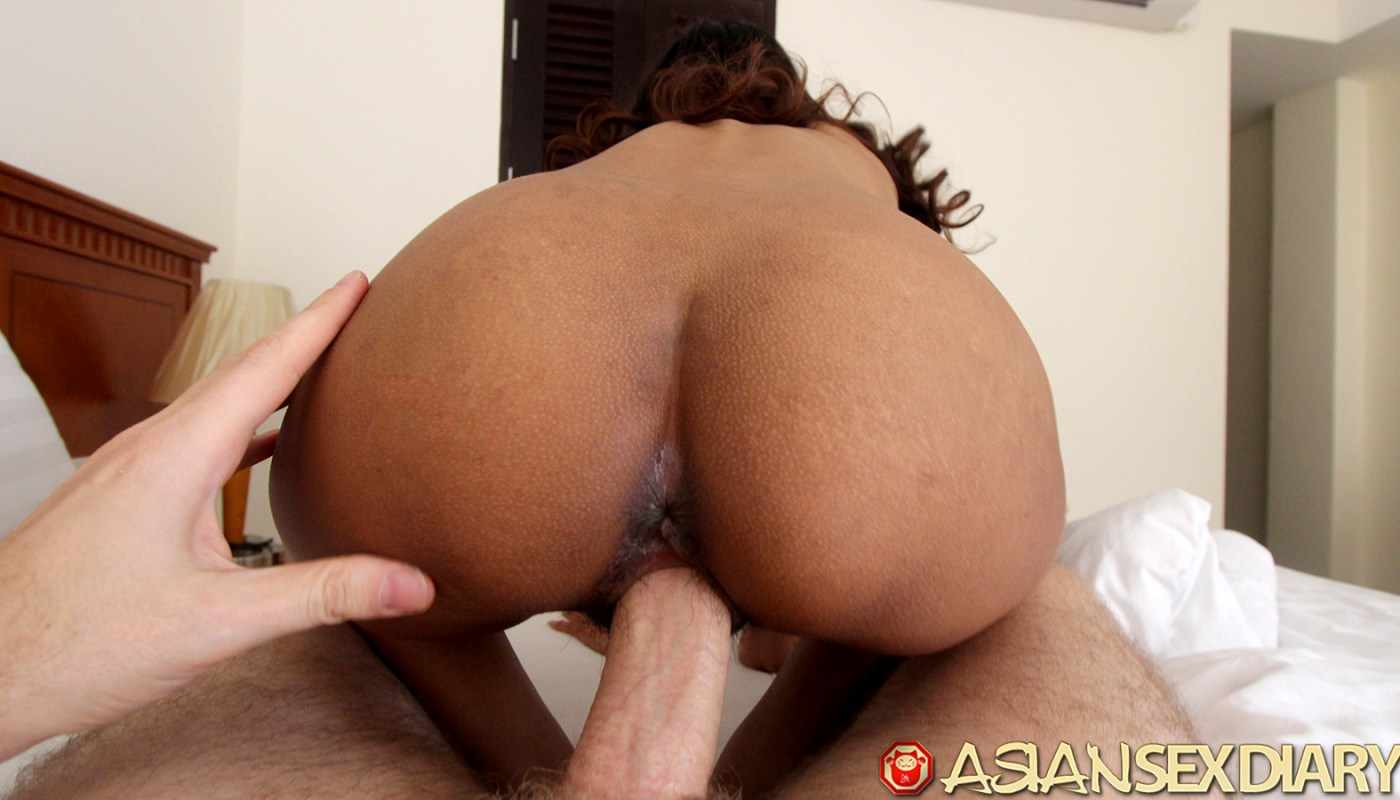Skinny Asian Riding ass up and down dick
