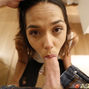 Small face Asian babe sucking huge white cock