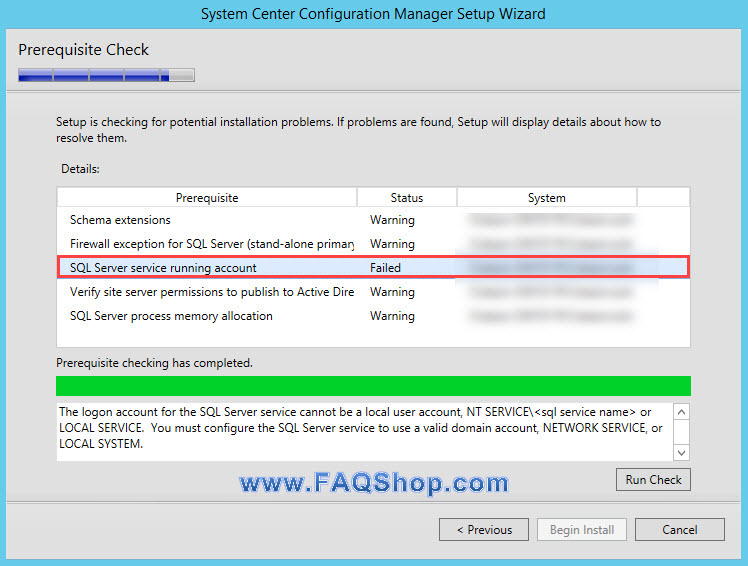 SQL Server service running account prereq check failure