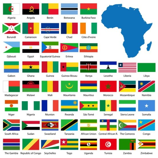 Detailed African flags and map
