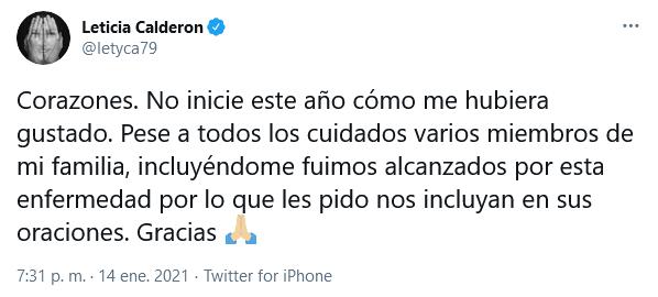 leticia calderón tiene covid-19
