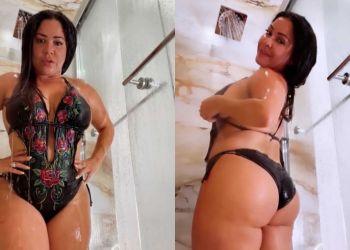 Carolina Sandoval bañándose en vivo para sus seguidores de Instagram