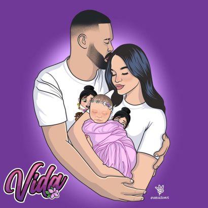 Ilustración realizada para Vida Isabelle, la hija de Natti Natasha y Raphy Pina