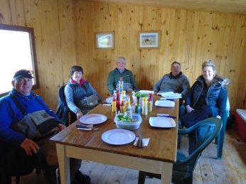 Guests taking a break from catching fish at the refuge near Lago Toro.