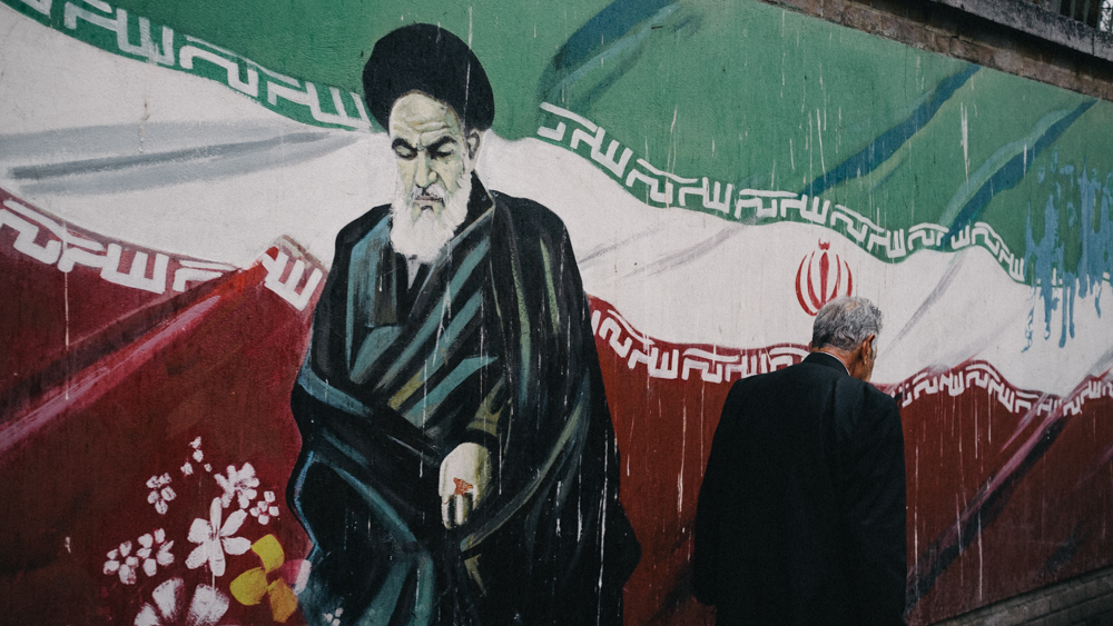 Mural painting of Ayatollah Khomeini at the American embassy in Tehran