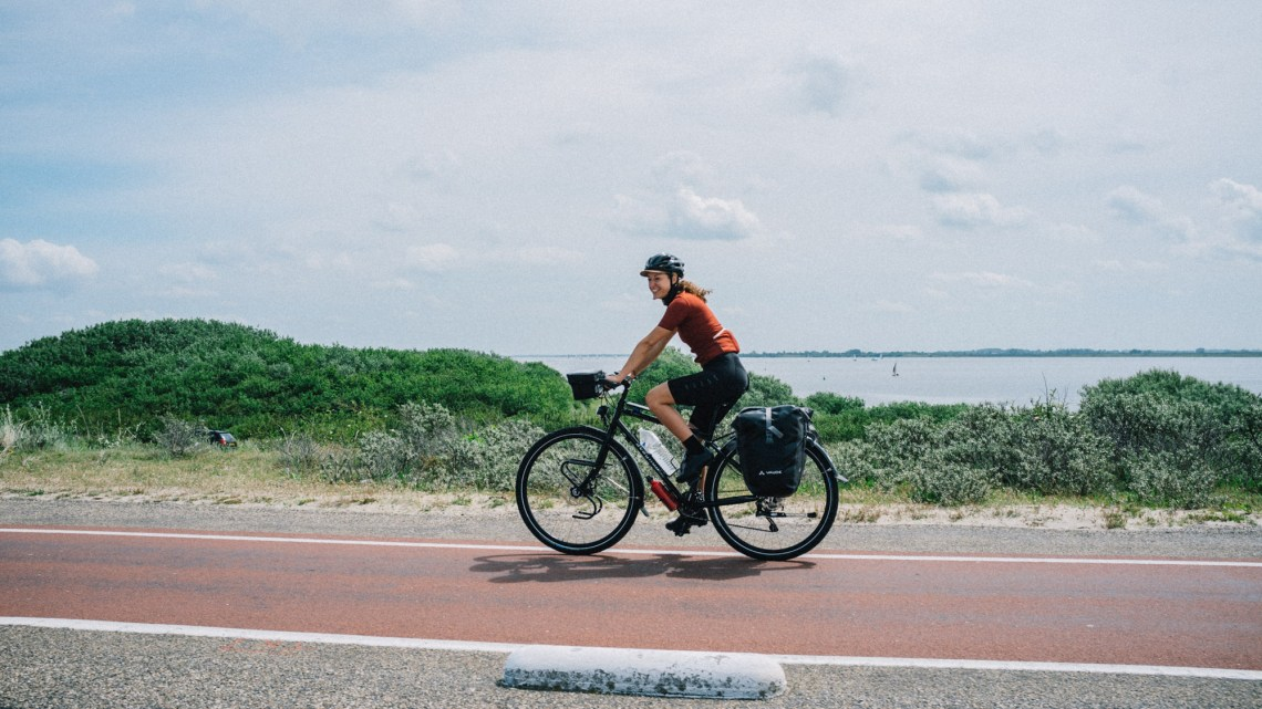Sabina on her Avaghon bicycle in Zeeland The Netherlands