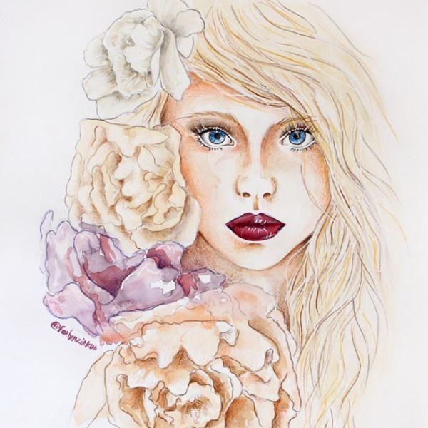flowers-illustration-girl-zeichnung-portrait-farbenzirkus