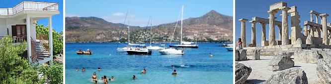 Ayia Marina på Egina ö utanför Aten - fin sandstrand och Afaiatemplet