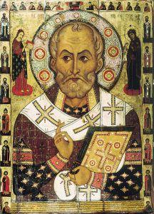 Grekisk ortodox ikon med den helige Nikolaos