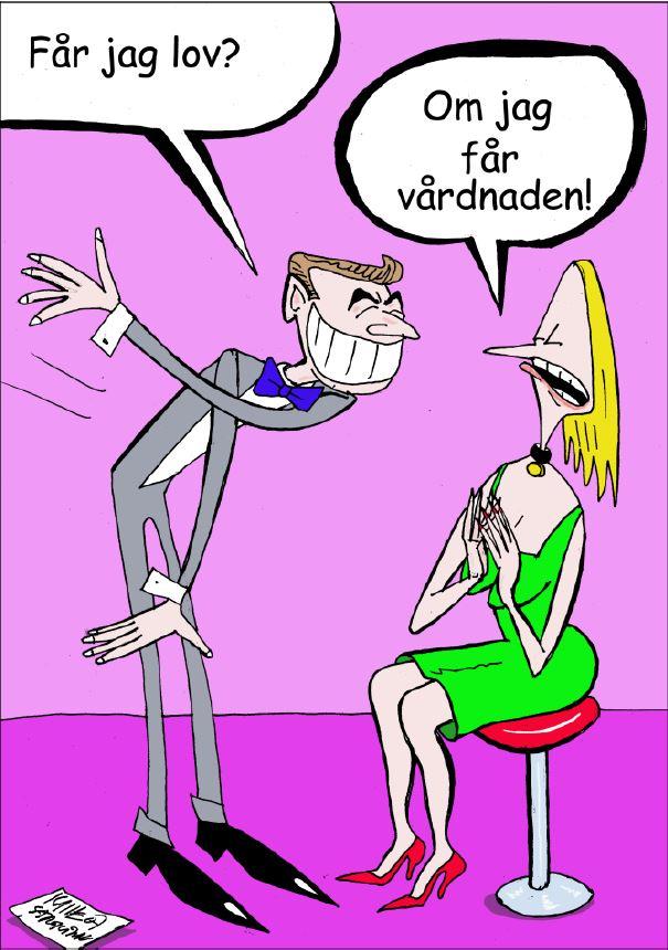 Karikatyr av Carl-Gustaf Strokirk hos Farbror Nikos