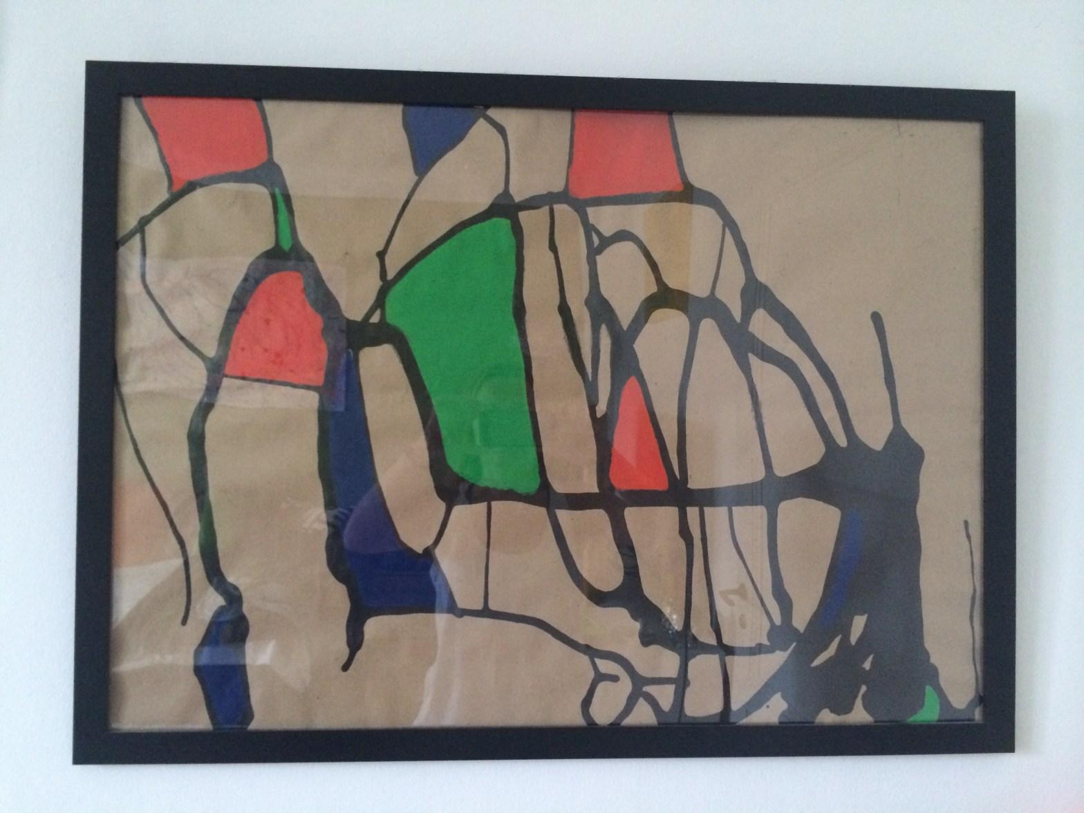 Utställningen Uppbrott - ett abstrakt kaos av Johanna Wallin hos Farbror Nikos på Katarinavägen 19 i Stockholm