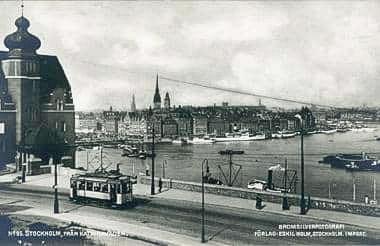 Historisk bild på Stockholm från Katarinavägen