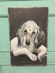 Englisch Setter Welpe, Acryl auf Holz Puppy