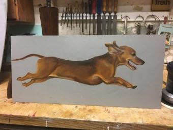 fliegender Dackel, Acryl auf Holz ca 60x40cm flying dachshund