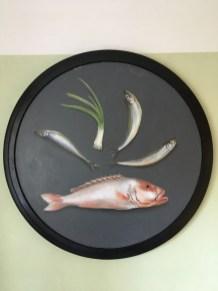 Fische und Lauch, Acryl auf Holz Durchmesser: 80cm Fish and leek