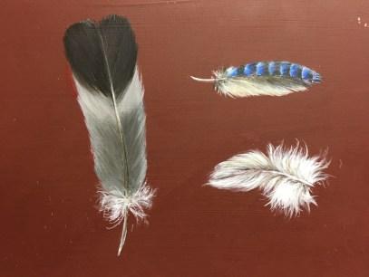 Federn, Acryl auf Holz ca 18x24cm Feathers