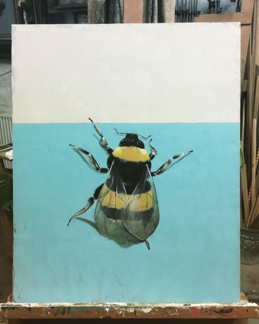 Hummel, Acryl auf Holz ca 40x 50cm Bumblebee