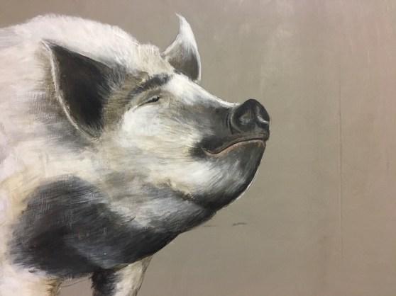 Schwein, Acryl auf Holz ca 30x45cm