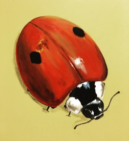 Marienkäfer, Acryl auf Holz ca 30x30cm Ladybird