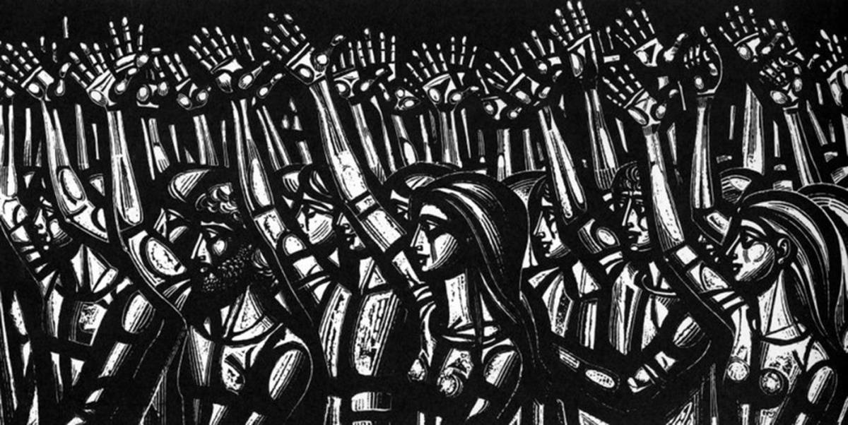 Αποτέλεσμα εικόνας για χαρακτικά του Τάσσου για απεργία