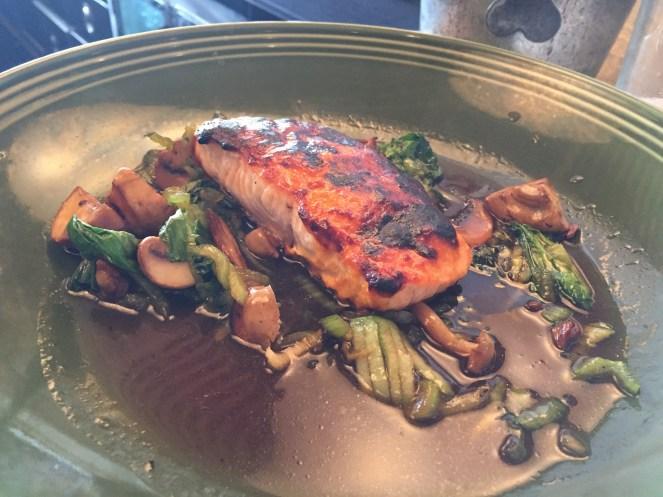Cashew glazed salmon with bok choy