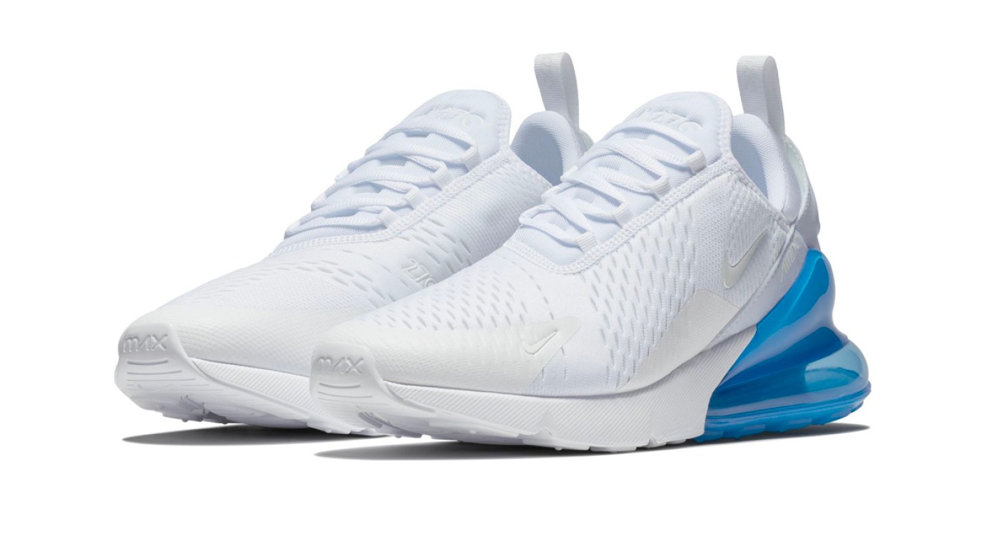 """32c20431b32037 Nike s Air Max 270 Takes on A """"White Photo Blue"""" Makeover"""