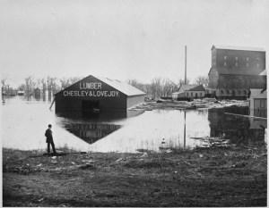 Chesley & Lovejoy Lumberyard at highwater, Fargo, N.D., Downtown, 1881