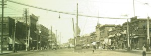 A photograph postcard is of Broadway in 1908, looking north from Front Street (Main Avenue).